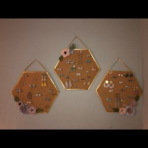 Jewelry - Hexagon Cork Earring Organizer-set of three